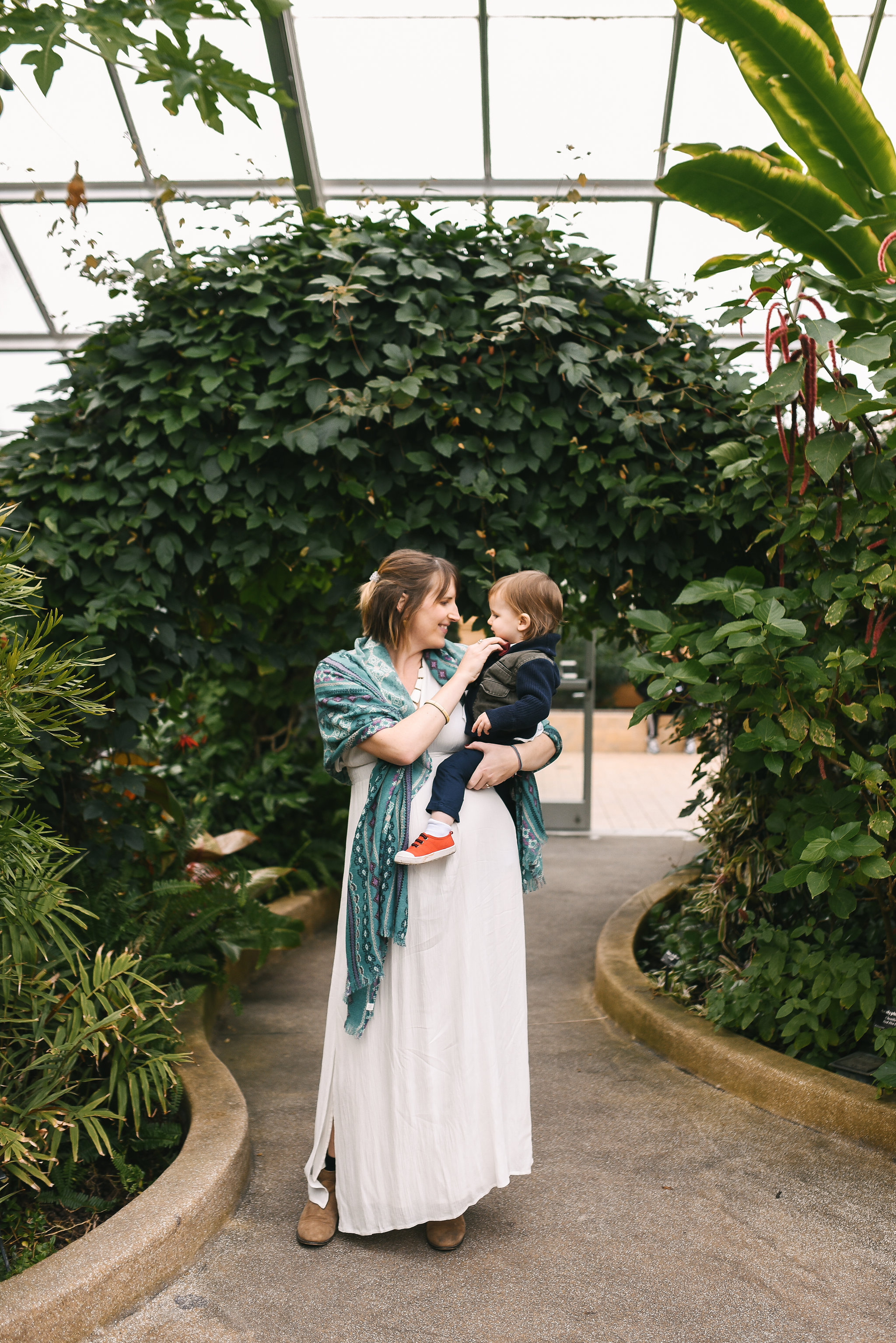 Rawlings Conservatory, Druid Hill Park, Intimate Wedding, Nature, Baltimore Wedding Photographer, Romantic, Classic, Bride Holding Son, Pregnant Bride