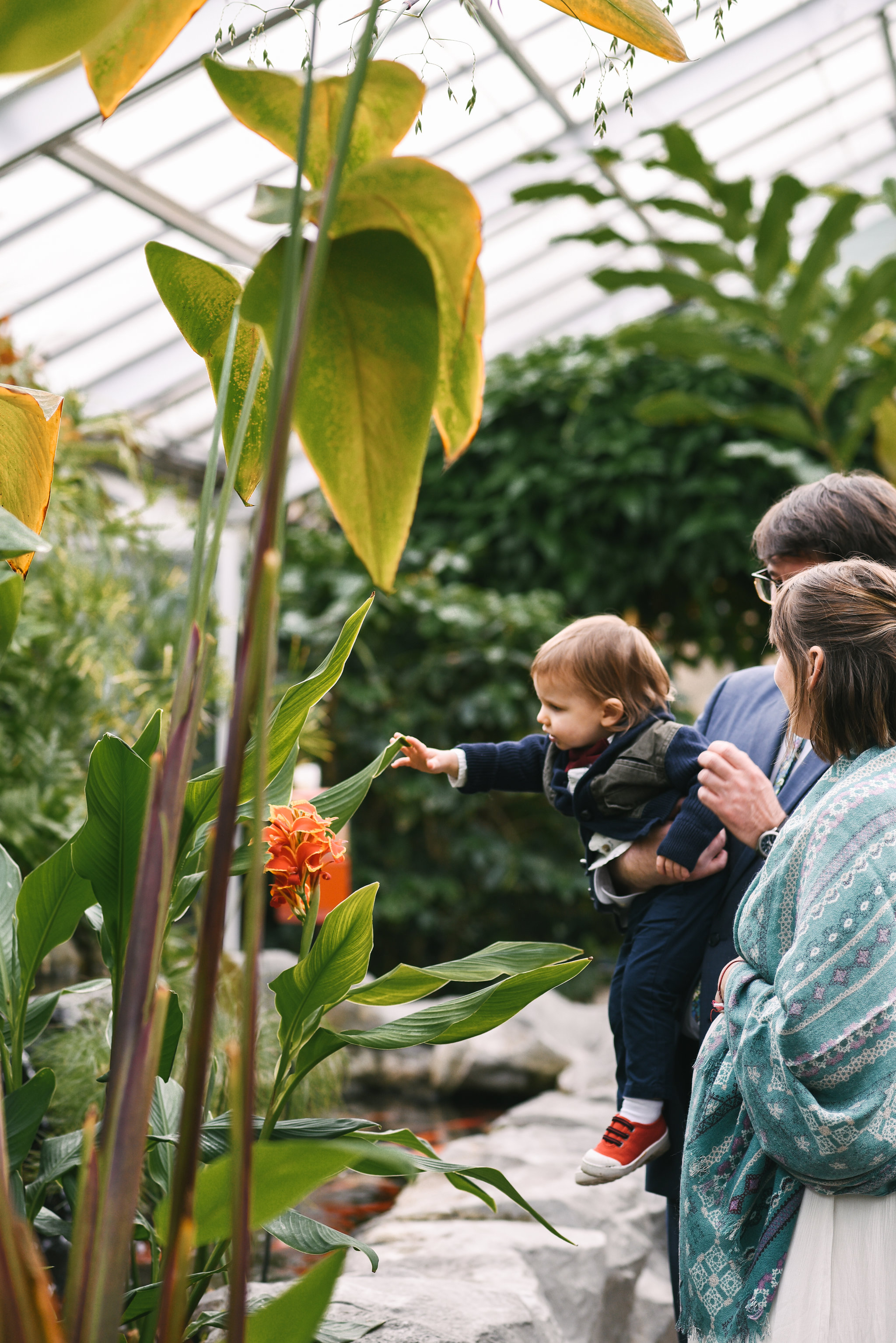 Rawlings Conservatory, Druid Hill Park, Intimate Wedding, Nature, Baltimore Wedding Photographer, Romantic, Classic, Bride and Groom with Son, Orange Flowers