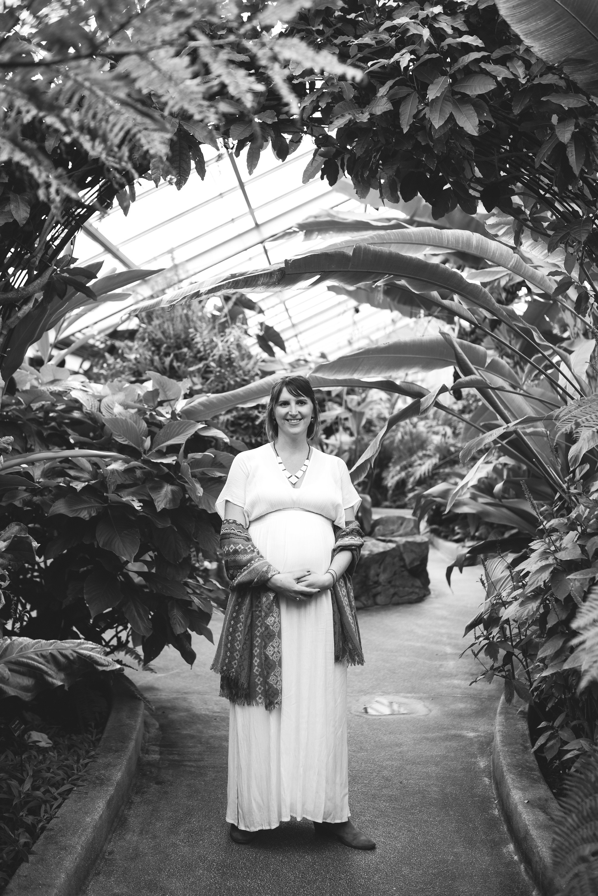 Rawlings Conservatory, Druid Hill Park, Intimate Wedding, Nature, Baltimore Wedding Photographer, Romantic, Classic, Portrait of Bride Among Trees, Black and White Photo, Statement Necklace, Pregnant Bride