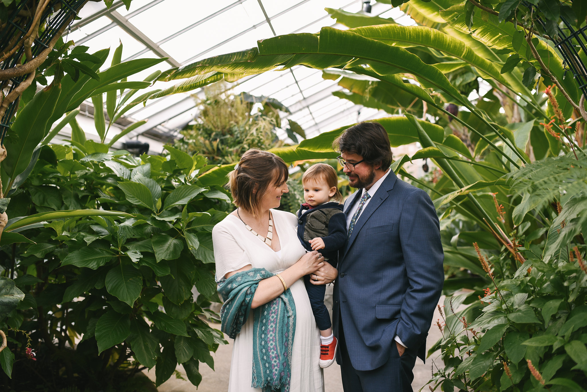 Rawlings Conservatory, Druid Hill Park, Intimate Wedding, Nature, Baltimore Wedding Photographer, Romantic, Classic, Bride and Groom Holding Infant Son