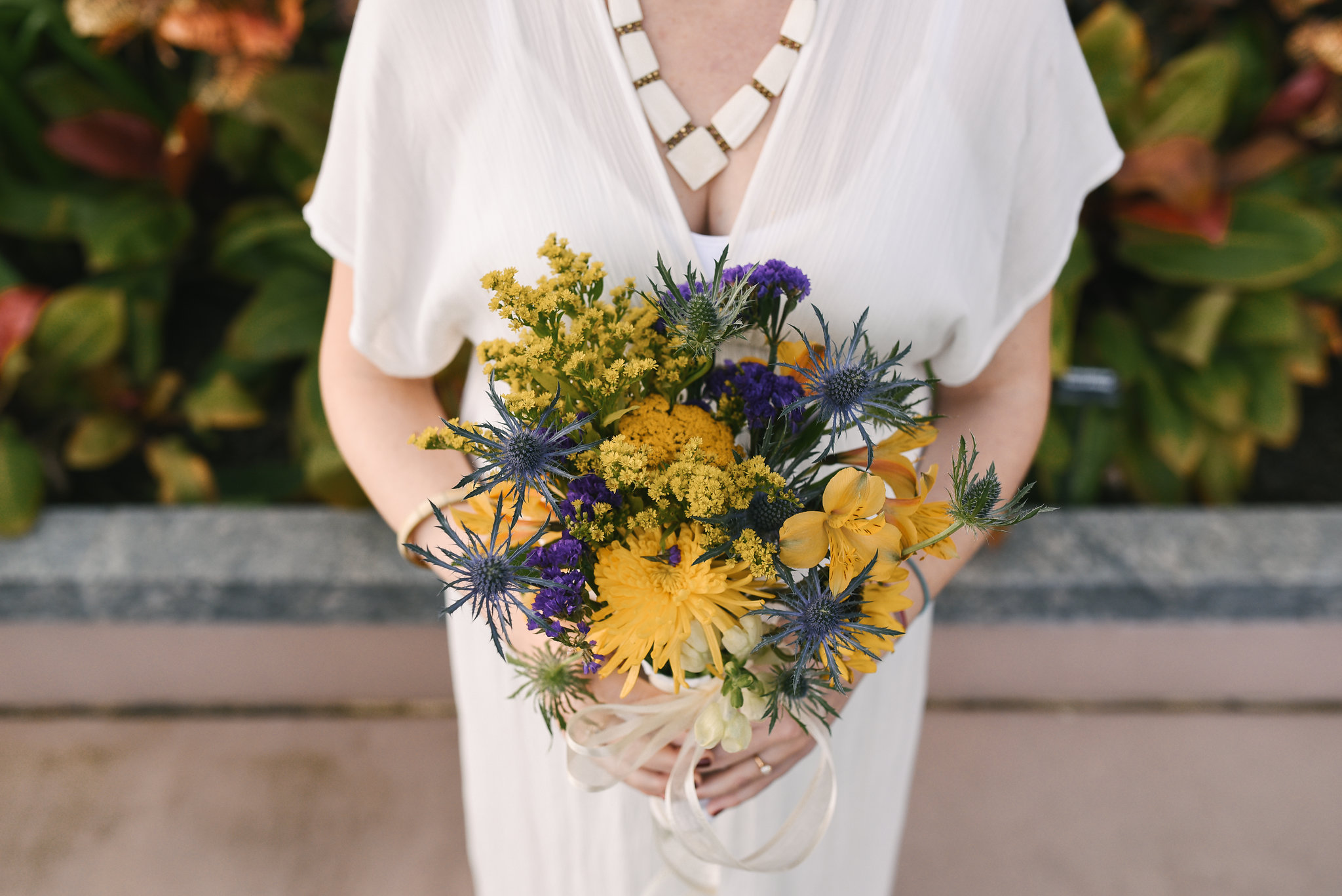 Rawlings Conservatory, Druid Hill Park, Intimate Wedding, Nature, Baltimore Wedding Photographer, Romantic, Classic, Bridal Bouquet, Yellow and Purple Flowers, Statement Necklace