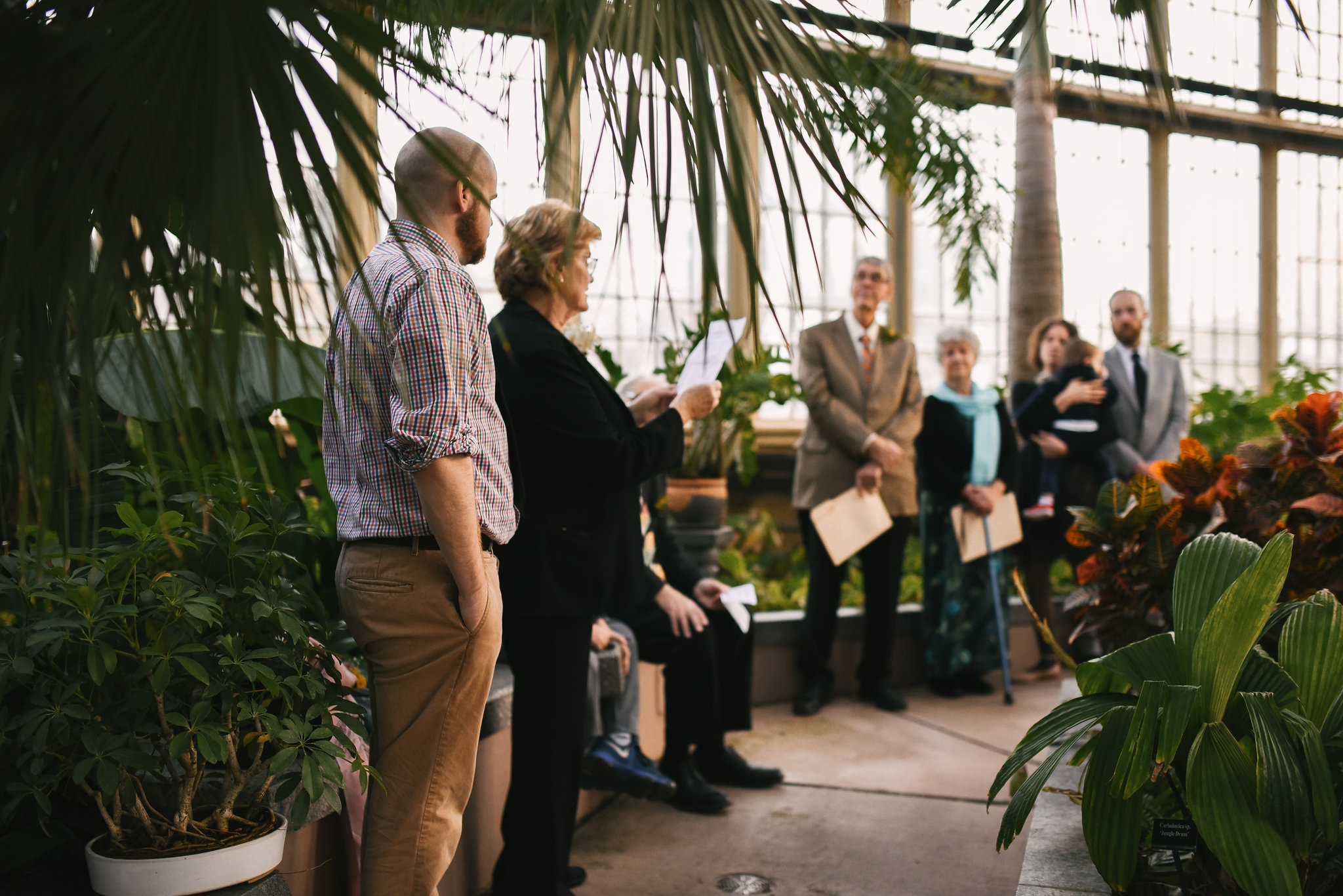 Rawlings Conservatory, Druid Hill Park, Intimate Wedding, Nature, Maryland Wedding Photographer, Romantic, Classic, Family Members Reading Poems at Ceremony