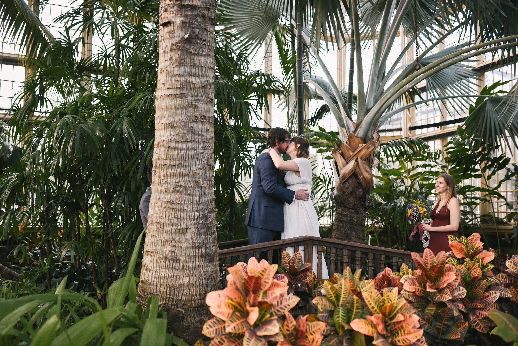 Rawlings Conservatory, Druid Hill Park, Intimate Wedding, Nature, Maryland Wedding Photographer, Romantic, Classic, Bride and Groom Share Kiss on Bridge, Beautiful Candid Photo