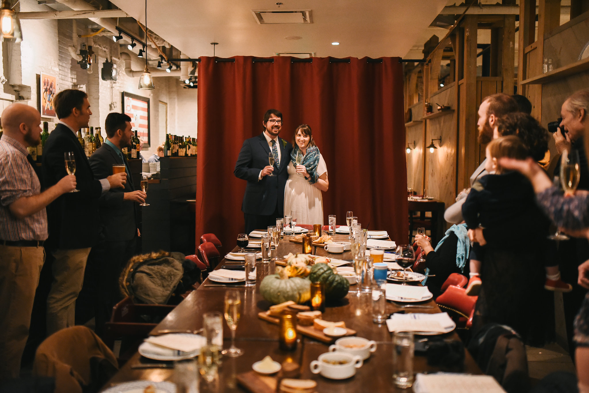 Woodberry, Baltimore, La Cuchara, Intimate Wedding, Nature, Maryland Wedding Photographer, Romantic, Classic, Bride and Groom Giving Speech at Wedding Reception, Wedding Toast