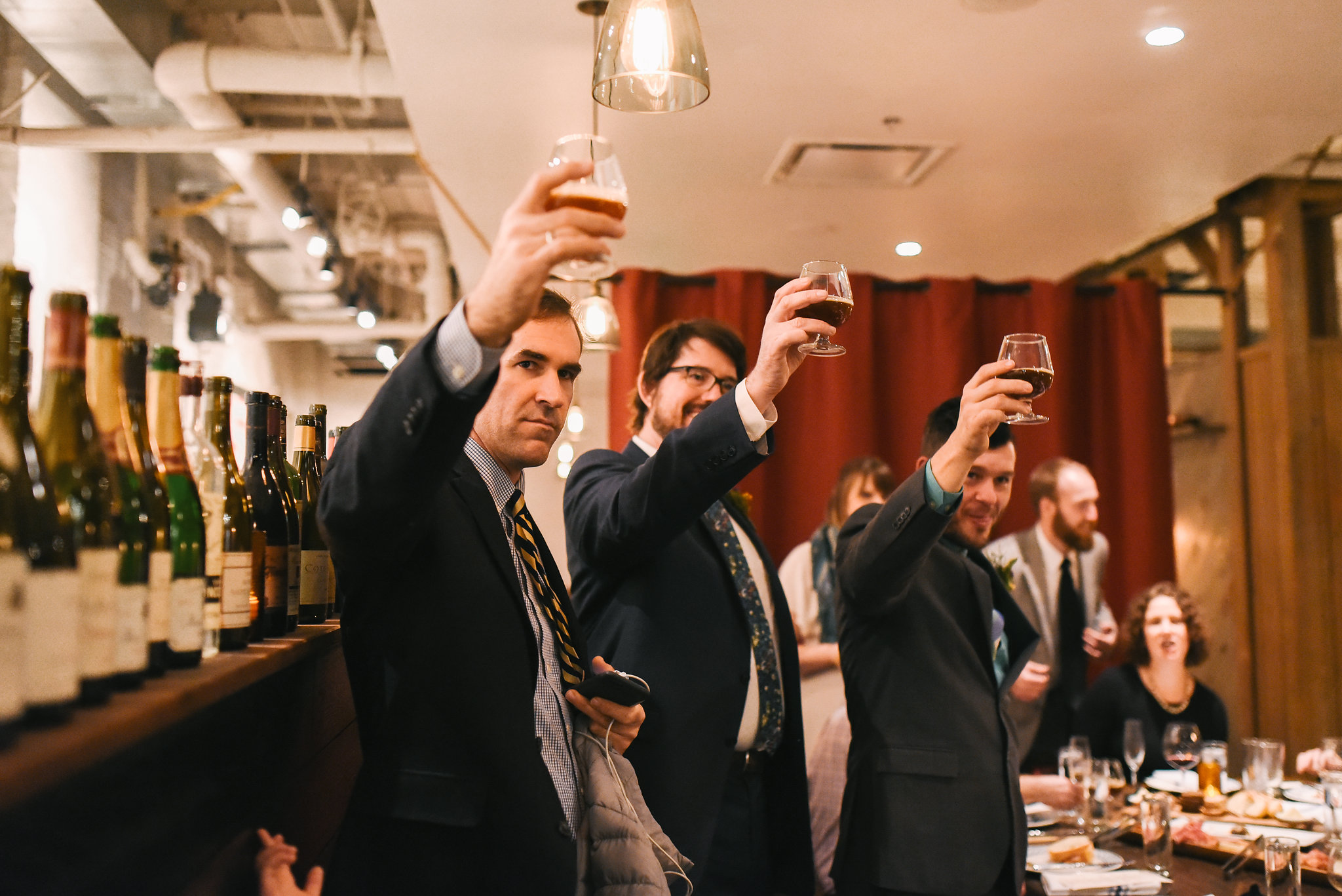 Woodberry, Baltimore, La Cuchara, Intimate Wedding, Nature, Maryland Wedding Photographer, Romantic, Classic, Groom and Family Giving Toast at Wedding Reception