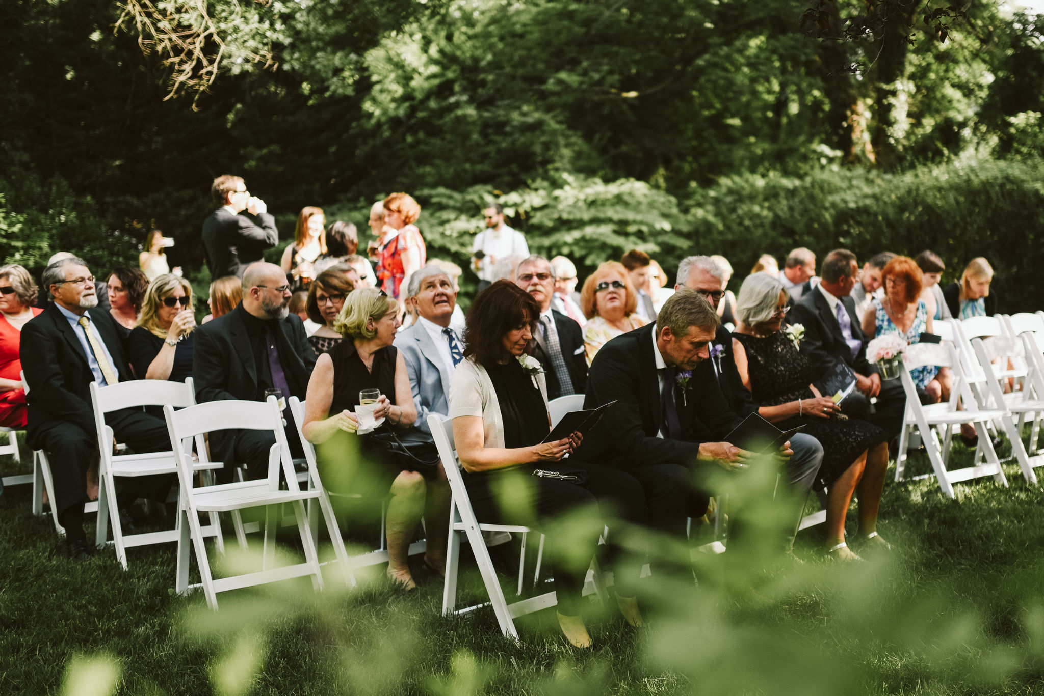 Hampden, Baltimore, Baltimore Wedding Photographer, Garden Wedding, Classic, DIY, Romantic, Guests Waiting for Ceremony to Start