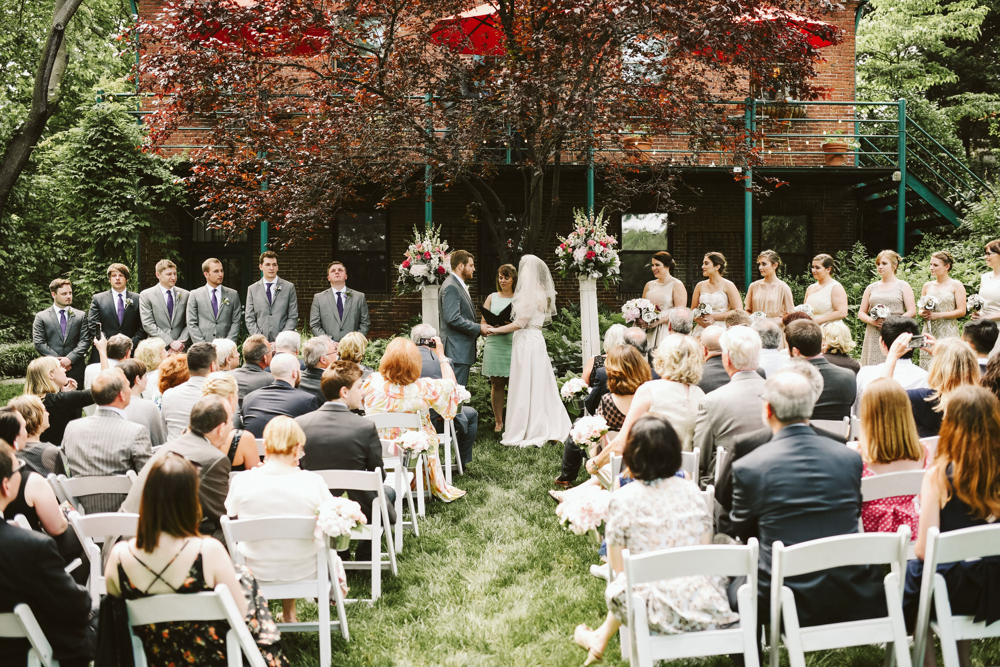 Hampden, Baltimore, Maryland Wedding Photographer, Garden Wedding, Classic, DIY, Romantic, Bride and Groom Exchanging Vows in Front of Wedding Guests, Sunny Day