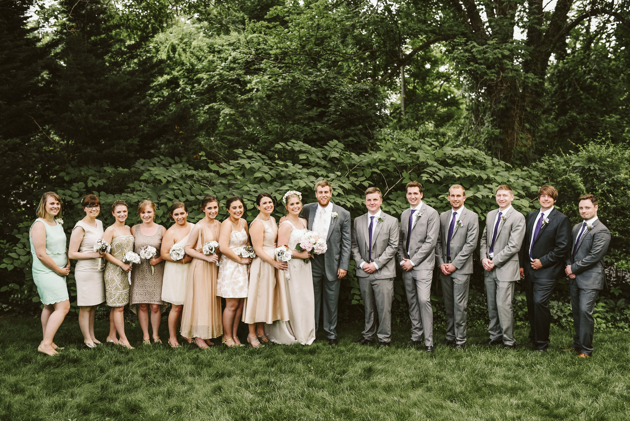 Hampden, Baltimore, Maryland Wedding Photographer, Garden Wedding, Classic, DIY, Romantic, Portrait of Bride and Groom with Entire Wedding Party, Bridesmaids and Groomsmen