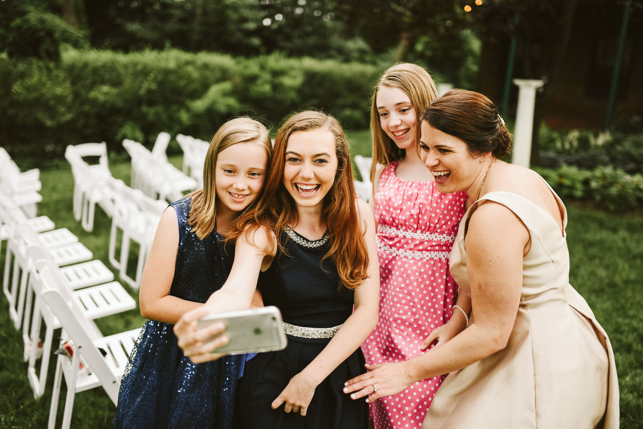 Hampden, Baltimore, Maryland Wedding Photographer, Garden Wedding, Classic, DIY, Romantic, Wedding Guests Taking Selfies Outside Reception