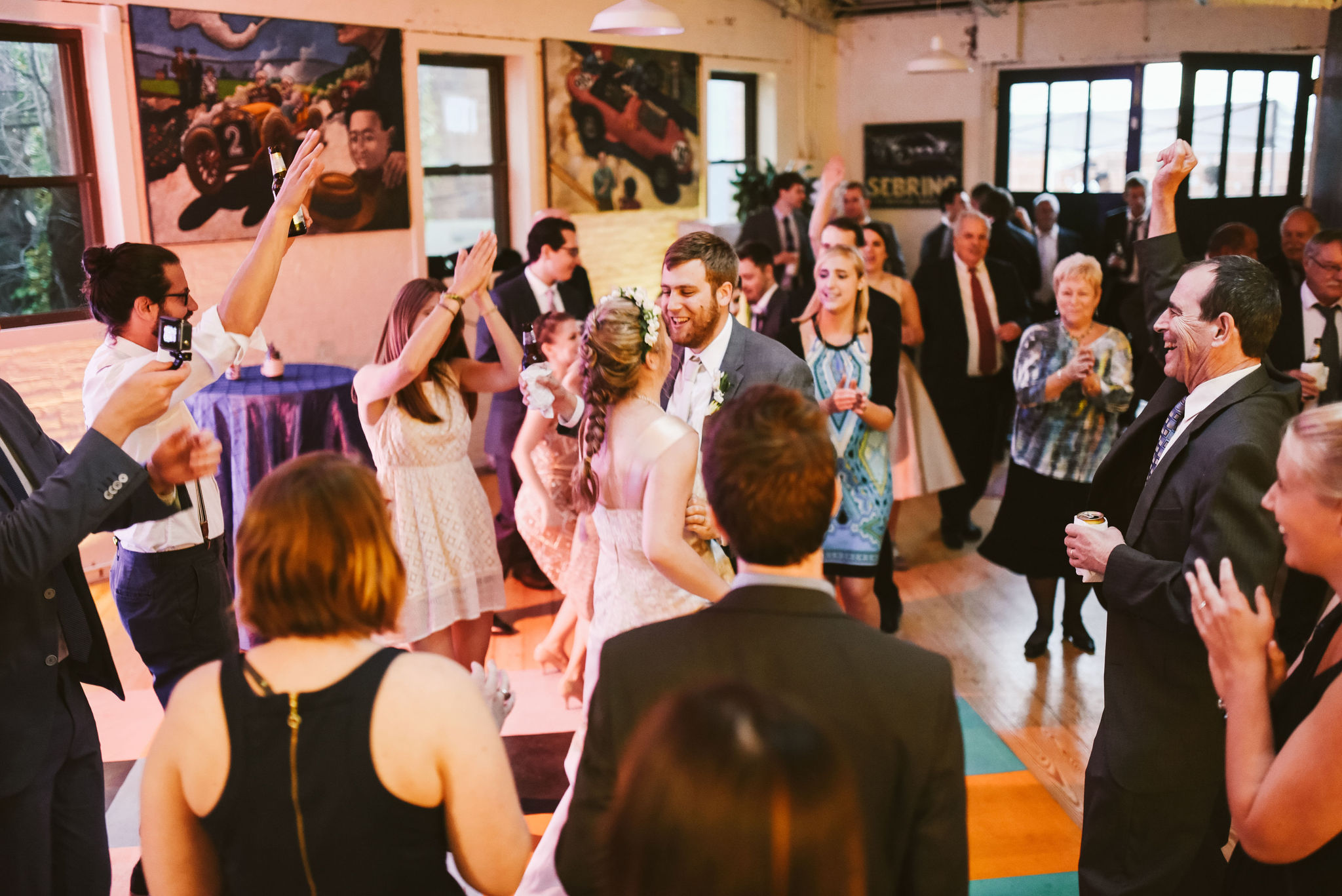 Hampden, Baltimore, Maryland Wedding Photographer, Garden Wedding, Classic, DIY, Romantic, Bride and groom Dancing Together Surrounded by Friends
