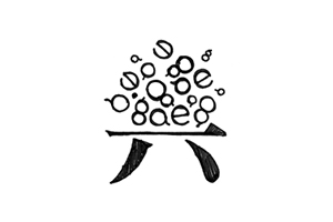 Chinese stroke = stool; western character = decoration