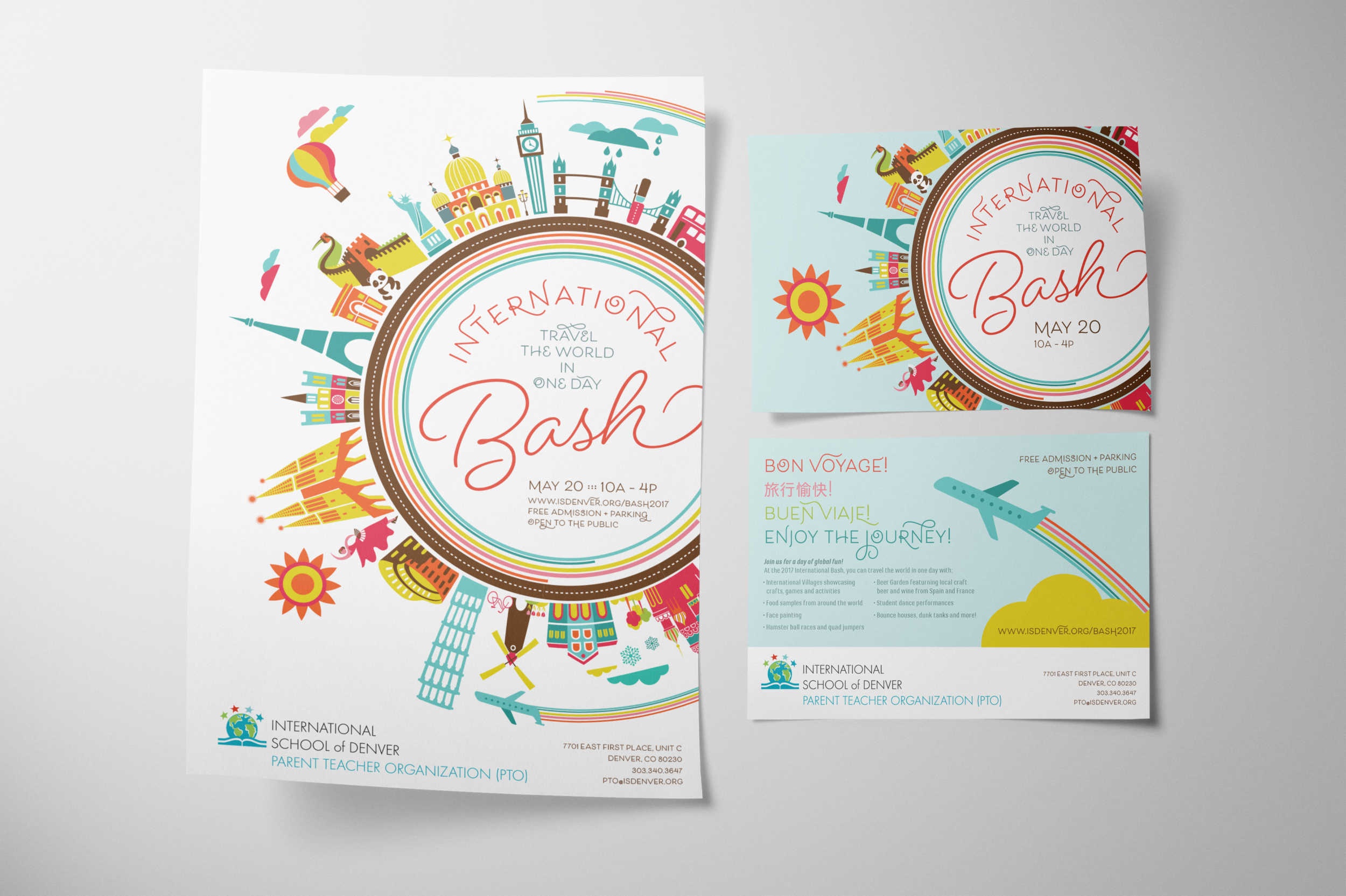 international bash poster + postcard