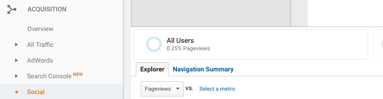 Google Analytics > Acquisition > Social > Overview