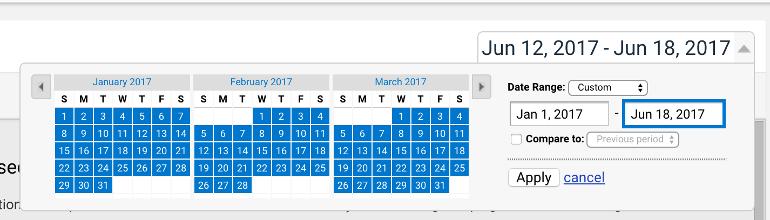 Google Analytics > Adjust Date Range