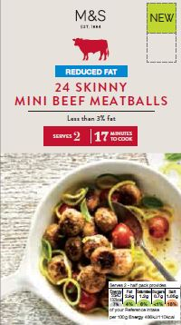 Skinny mini beef meatballs  Building on the success of the Skinny beef burger, a skinny beef meatball that is low in fact but well seasoned and satisfying. Great for comfort food without the calories.