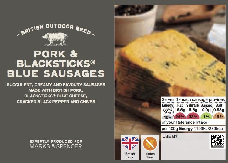 Pork and Blacksticks Blue Sausages