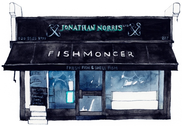 JONATHAN NORRIS FISHMONGER: website   Jonathan owns and runs three brilliant London fishmongers, and needed a simple website to help people find him. For him I created exactly that, writing the copy and handling all design and  technical elements. To keep photography costs down, we used images from his Instagram account, and negotiated permission from East London artist, Eleanor Crow, to use her wonderful drawing.