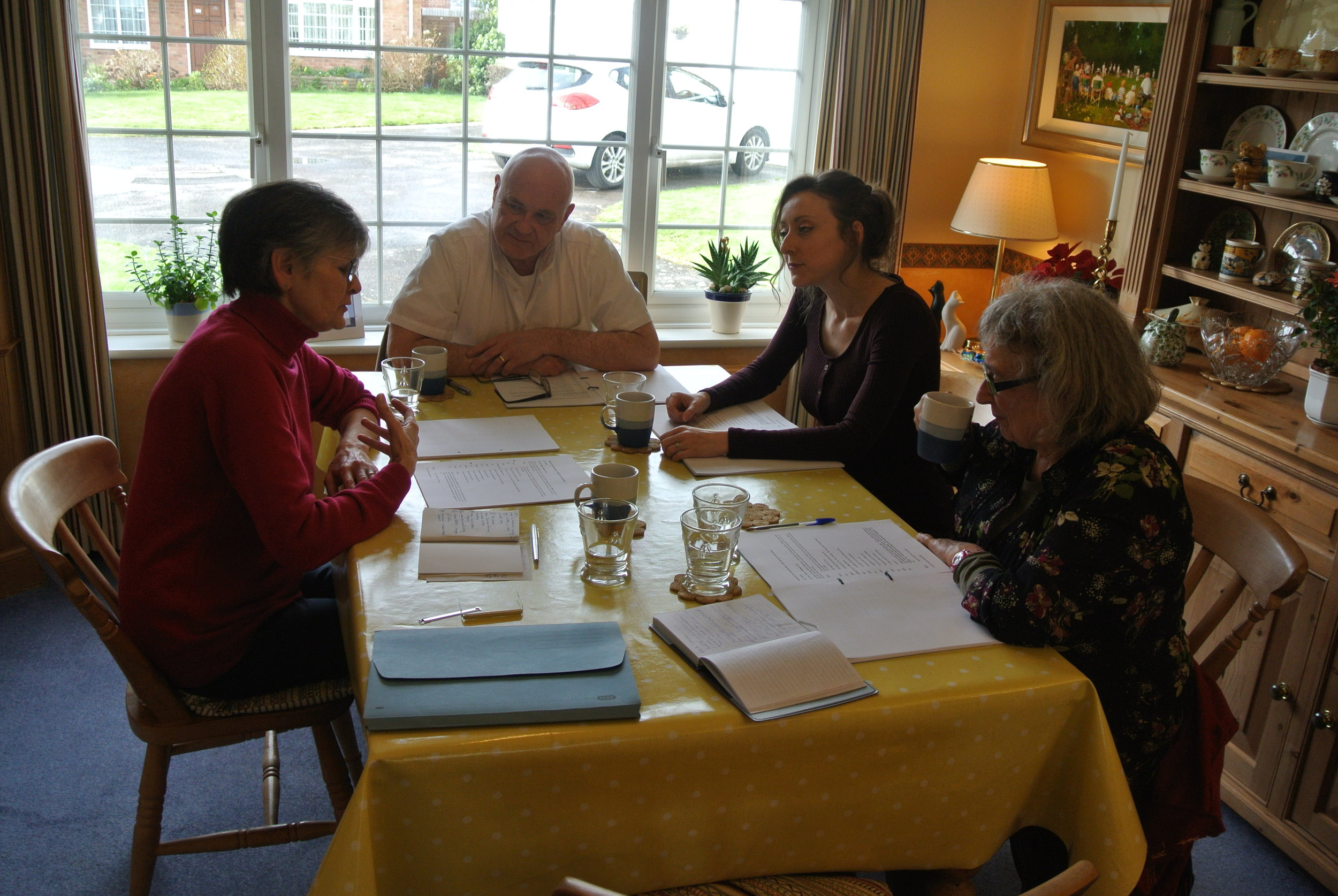Making people smile is a serious business. Annie, Russell, Celia and Sian discuss the script.