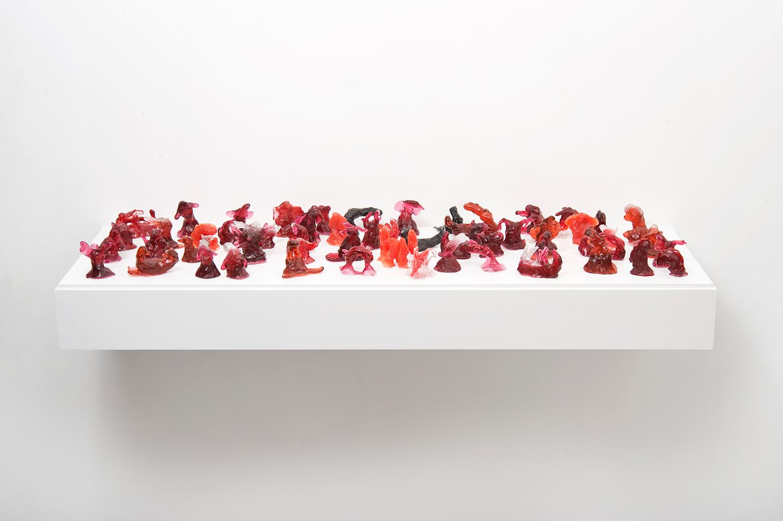 The sleep of reason produces monsters, kiln cast glass on bespoke shelf, (W) 122 x 104cm