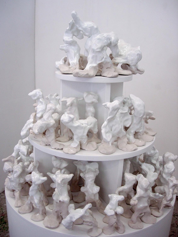 Snowy (detail), glazed clay on bespoke mdf plinth with shelves, (W) 51cm x 132cm