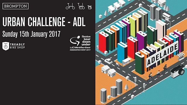 Brompton is making its Santos Tour Down Under debut in 2017 with two great events for Australia's Brompton community.  On Sunday January 15, join the Brompton Urban Challenge,  a two wheeled urban scavenger hunt, exploring the city, uncovering clues and hints and discovering all that Adelaide and the Santos Tour Down Under has to offer.  Then, on the afternoon of Tuesday January 17, join us for the Treadly Bike Hire Brompton Sprint - a short, sharp test of speed for the fastest Bromptoneers in Australia. International Brompton Race Rules apply: Jacket and tie dress code and Le-Mans style start: riders must unfold their bikes before joining the race. #tdu #urbanchallenge #bromptonbicycle #brandsa #southaustralia #seesouthaustralia #adelaide #tourdownunder #hirenow