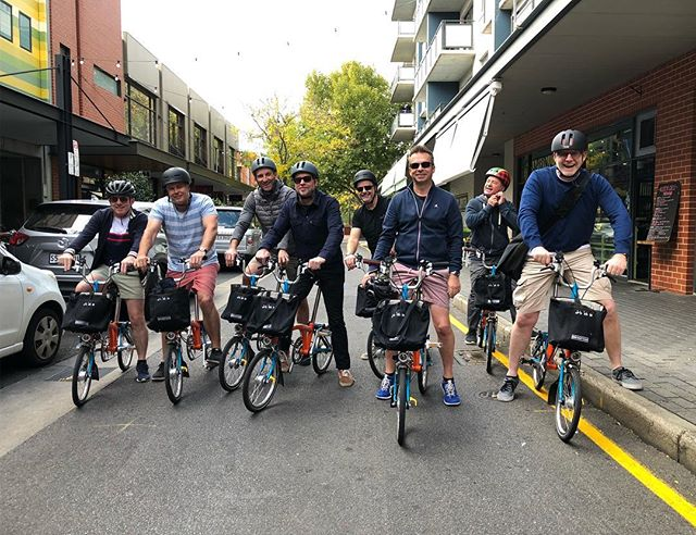 Thanks to the eight gentlemen for choosing Treadly to sightsee the best of Adelaide in style on our @bromptonbicycle hire bikes.