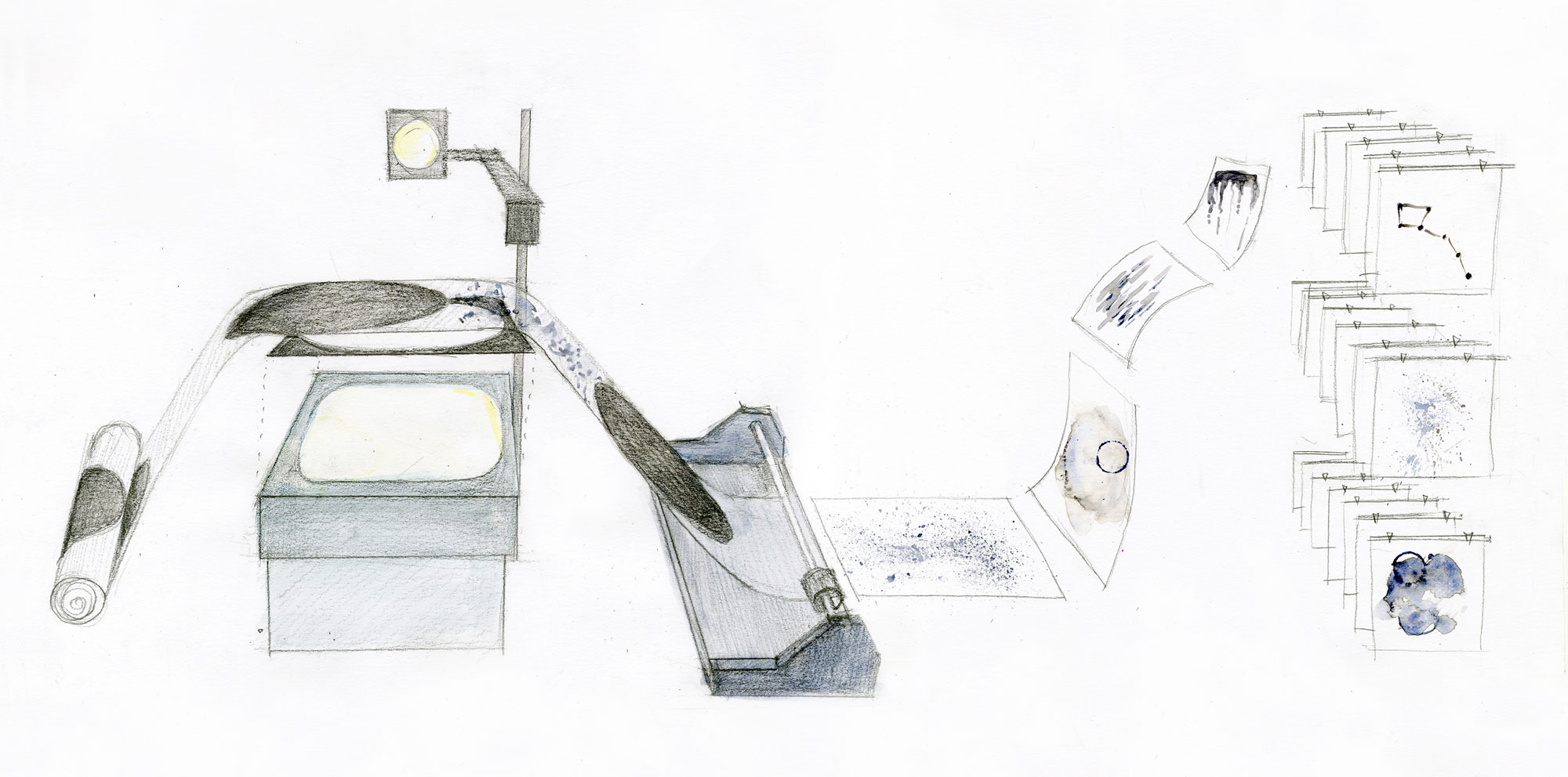 System developed for analog projections using a vintage overhead projector and various materials including ink painting on water.