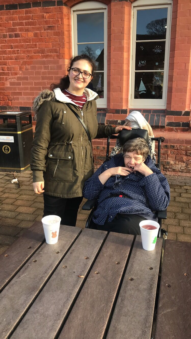 Julia and Joanna meeting up for hot drinks at Christmas