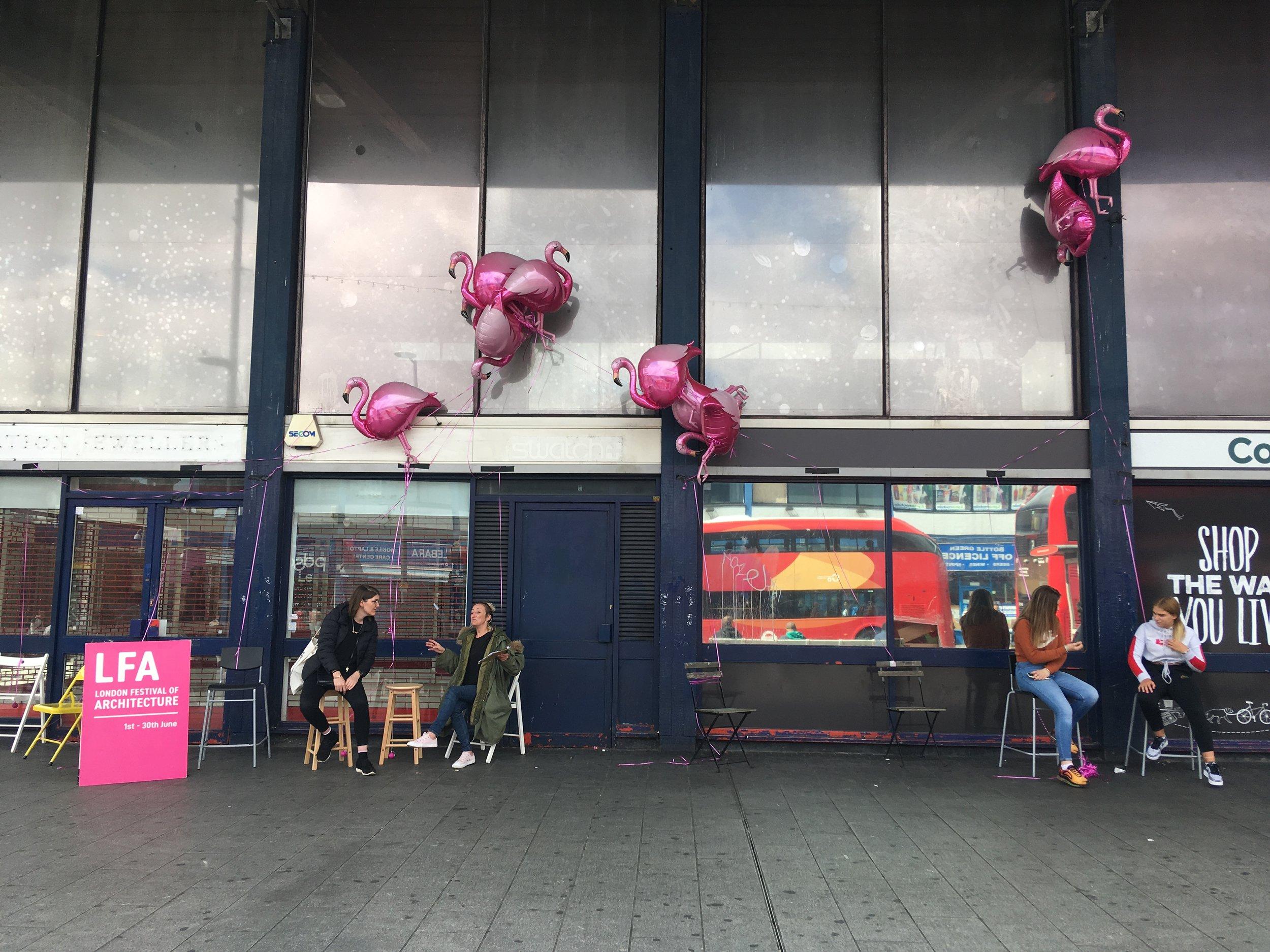 Prototyping flying flamingoes at Barking Station