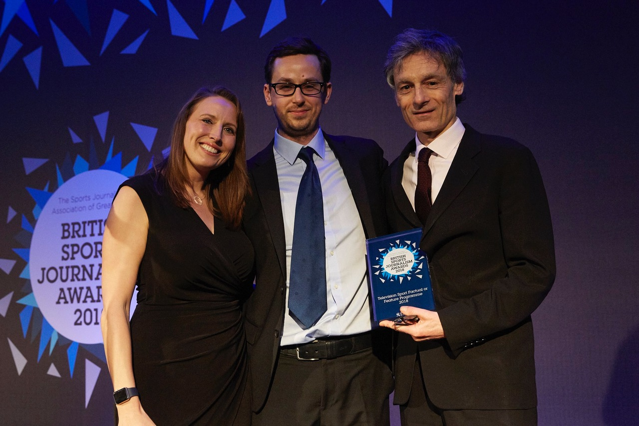 Director: Torquil Jones | Writer and Director: Gabriel Clarke accepting the SJA award for  Television Sport Factual or Feature Programme 2018