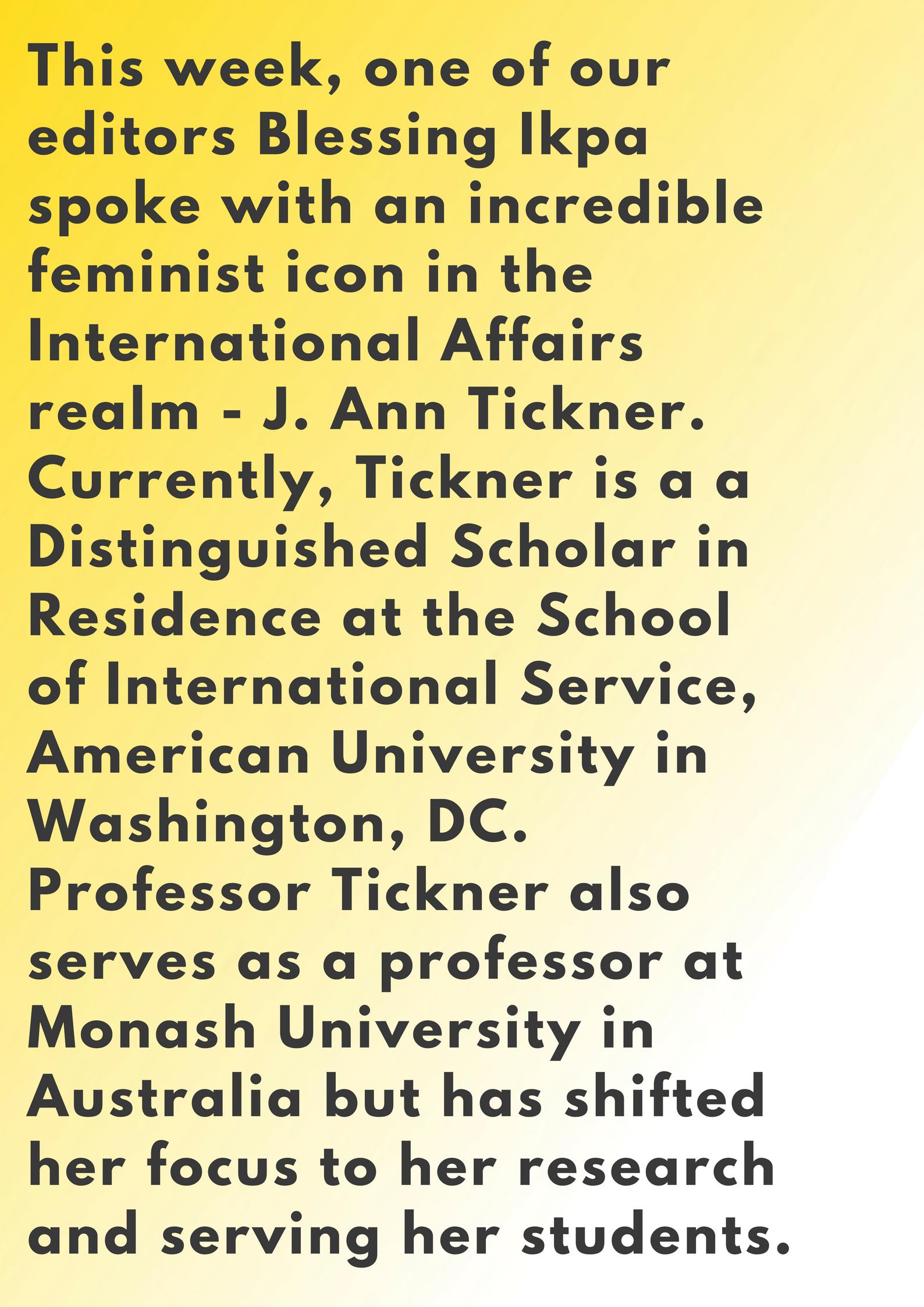 J Ann Tickner Centre for Feminist Foreign Policy