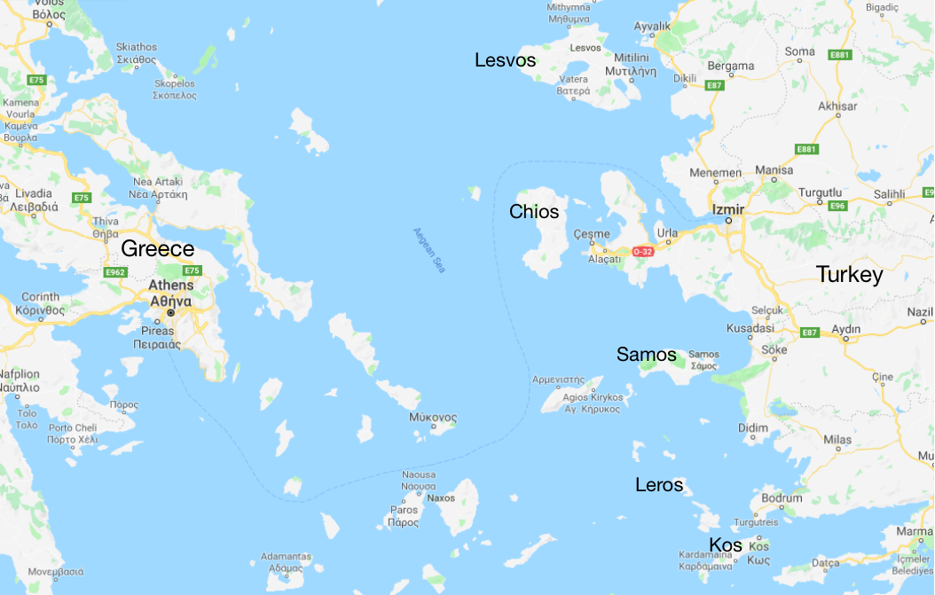 Map    of the Aegean Islands including Lesvos, Chios, Samos, Leros and Kos (2018).