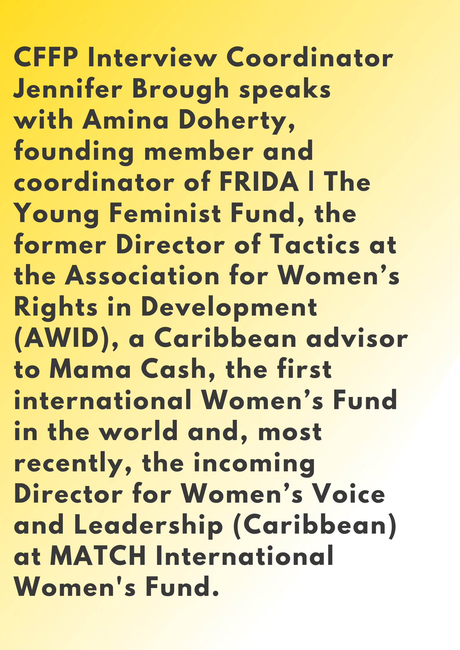 Amina Doherty Centre for Feminist Foreign Policy Interview