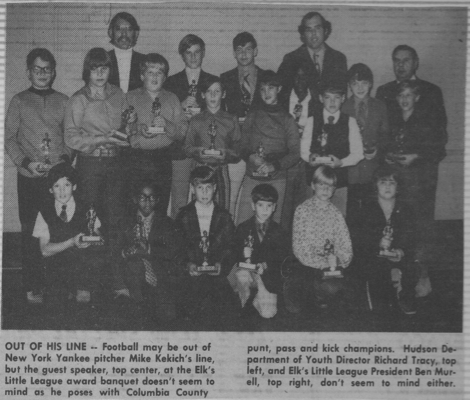 T  hat's Mike Kekich in the upper right of the photo and me directly to his left in my brother's sport coat and tie at the 1972 Hudson Little League banquet.