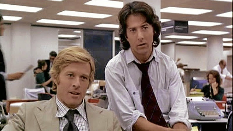 "Hollywood's Woodward & Bernstein in ""All The President's Men."" I thought if I became a reporter, I would look like Robert Redford. It didn't work."