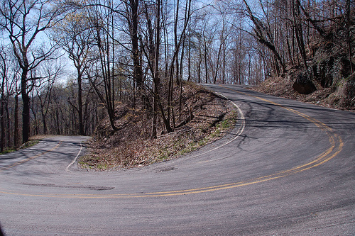One of the many switchbacks on Skyuka Mountain.