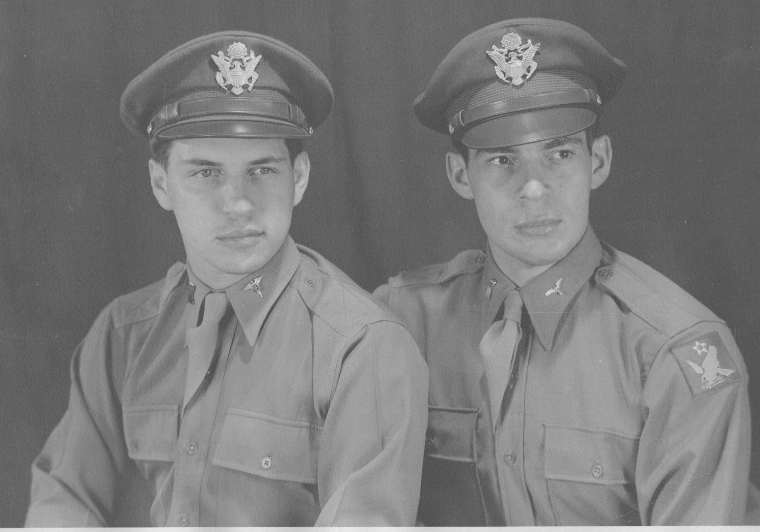Herman, right, and his brother, Harold, in 1944 when Herman was commissioned as an officer in the U.S. Army Air Corps.