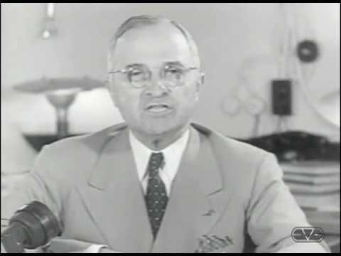 Harry Truman announces the bombing of Hiroshima.