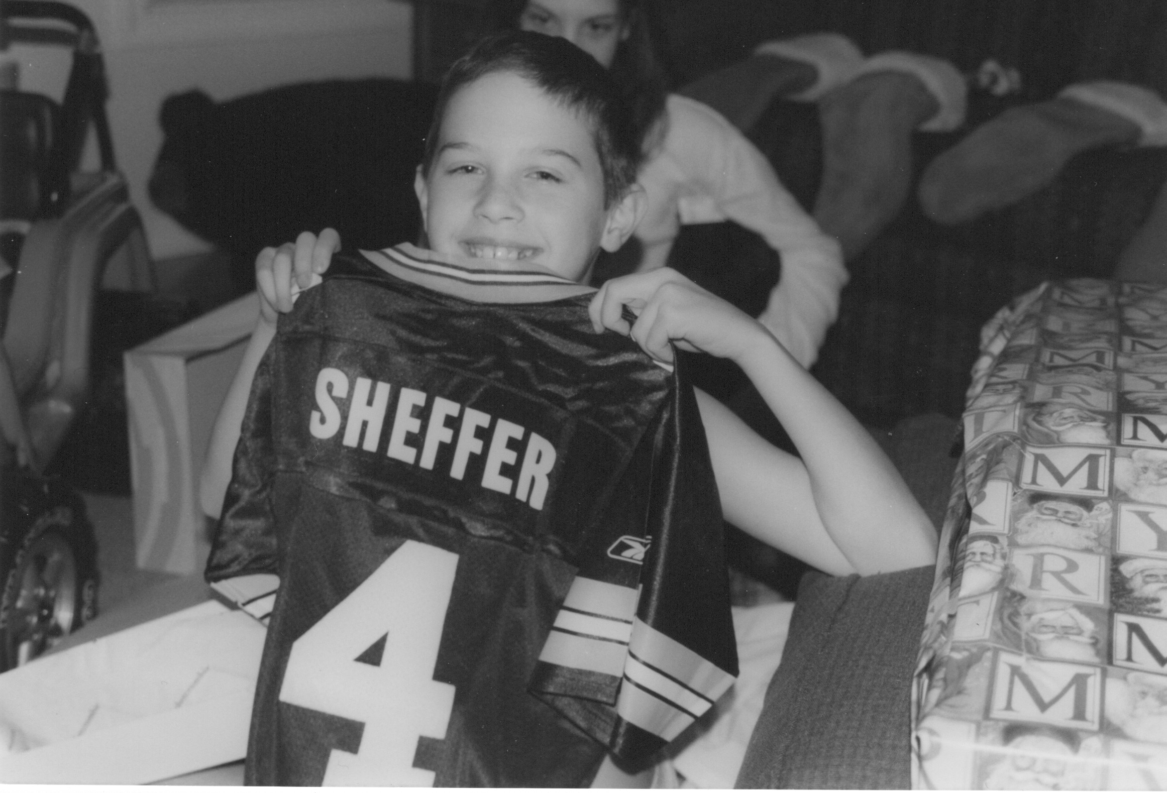 Christmas at the Sheffer house was often green, here for Peter.