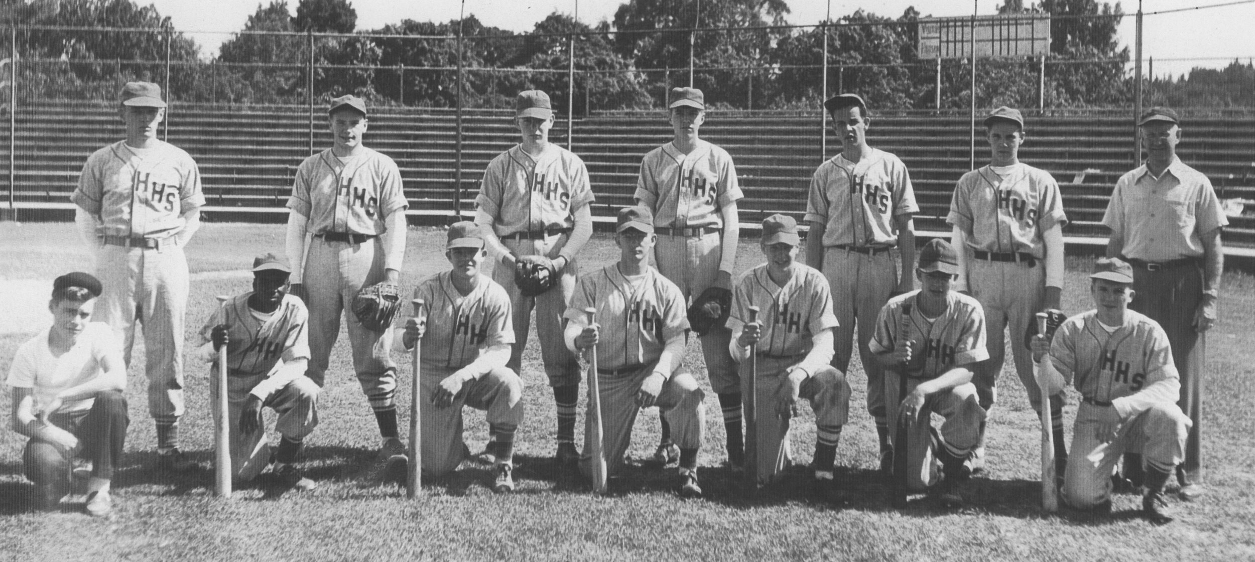 Hudson High Bluehawks circa 1948. In back row, third from left is Red Sheffer, and third from right is Bob Trowbridge.