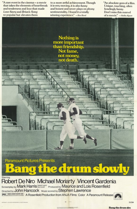 5. - Bang the Drum Slowly, by Mark Harris. Bruce Pearson is a catcher for the fictional New York Mammoths, a lovable rube, and a dying man. This novel poigniantly chronicles his death across a baseball season.