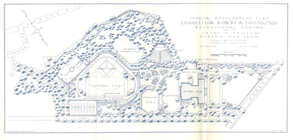 The entire educational complex, including the school building, was named after Chancellor Robert R. Livingston when it was designed in 1932. The school building was renamed after former Superintendent Montgomery C. Smith in 1939. The athletic field was named after former Superintendent John A. Barrett in 1980. Above is the original design. The outdoor theater was never built.
