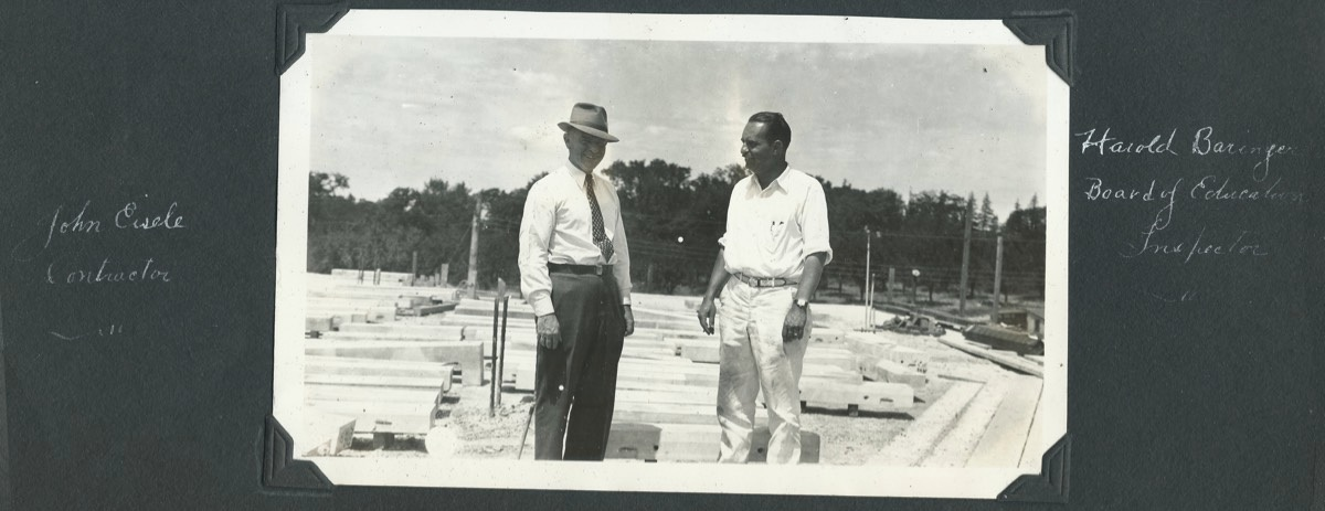 Lead contractor John Eisele, left, and Harold Baringer, the Hudson Board of Education inspector, at the high school construction site in a 1936 photo. Eisele led a renowned construction company, building hundreds of schools, churches and libraries, as well as taking part in projects at the New York World's Fair, New York University, and LaGuardia Airport.