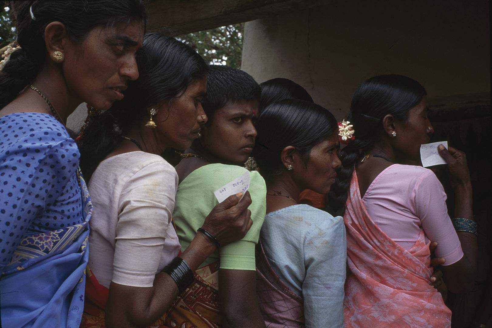 """""""Dalit Women Waiting to Vote"""" - Karnataka, India - 2000"""