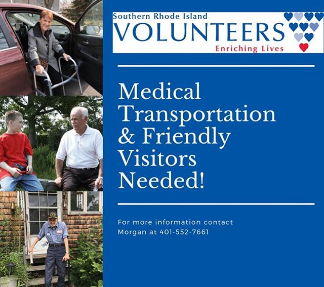 SRIV is in critical need of drivers and friendly visitors! Help drive seniors to and from medical appointments or visit with a senior for an hour a week. This is a great way to help out your community and make a senior smile. For more information, contact SRIV at 401-552-7661