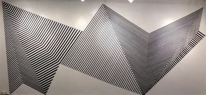 Her Waveform, 1″ black masking tape installation, 11′ x 27′