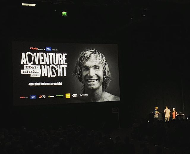 Feeling blessed! Thanks you all. It was an honour to have @chris_sharma on stage ❤️ #helsinkiadventurenight