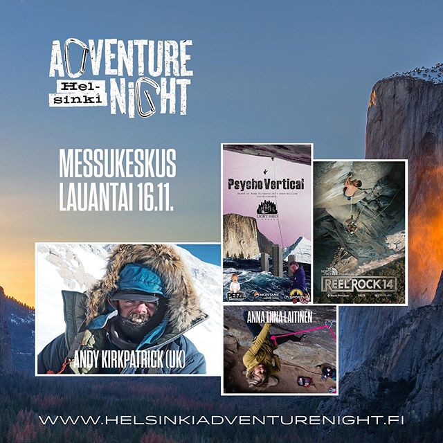 Helsinki Adventure Night program released. Check link at the bio. We have an honour to have @psychovertical visiting Finland this year! It's gonna be a blast! . . #helsinkiadventurenight  #climbing #psychovertical  #reelrock  #freesolo