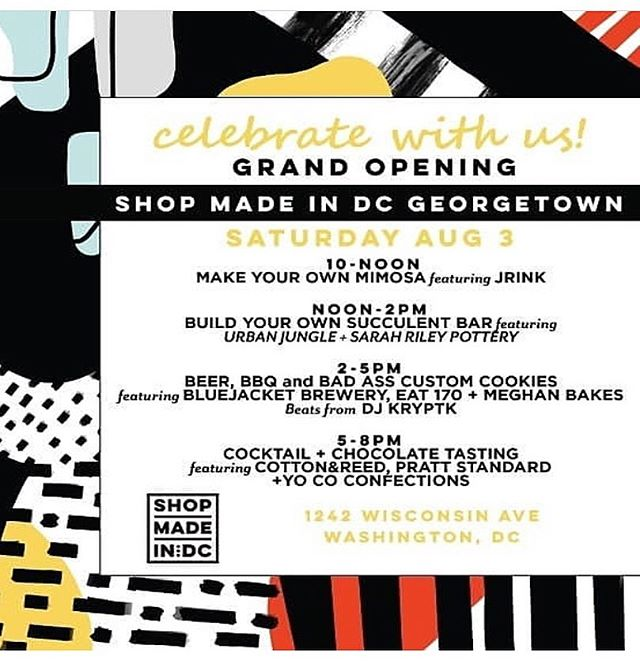 Come out to the grand opening of @shopmadeindc GEORGETOWN today! Take part in all the fun activities and pick up a #morningportal ceramic vase and print too 🌸🤗🎉 10-5PM LIVE PAINTING WITH MATT CURRY-- SPEND $50 and REGISTER TO WIN HIS CANVAS  10-NOON MAKE YOUR OWN MIMOSA featuring JRINK  NOON-2PM� BUILD YOUR OWN SUCCULENT BAR featuring �URBAN JUNGLE + SARAH RILEY POTTERY  2-5PM� BEER, BBQ and BAD ASS CUSTOM COOKIES�featuring BLUEJACKET BREWERY, EAT 170 + MEGHAN BAKES/ Beats from DJ KRYPTK  5-8PM� COCKTAIL + CHOCOLATE TASTING featuring COTTON&REED, PRATT STANDARD�+YO CO CONFECTIONS��