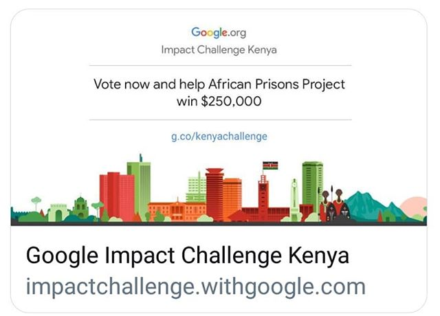 Vote for African Prisons Project and help us win $250,000 towards the project to enable us to continue promoting access to justice across prison communities and enhance economic empowerment. Voting link on Bio. #Vote#Voting#GoogleImpactChallenge#Share#Tellafriend#Kenya#Justice#education#MondayMotivation#Challenge#Impact#Prisons#Africa#Empowerment